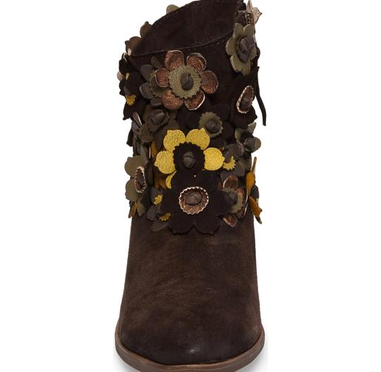 Anthropologie 3-d Flower Floral Floral Applique Sheridan Mia Floral NEW Sunflower Brown Suede Boots Image 3