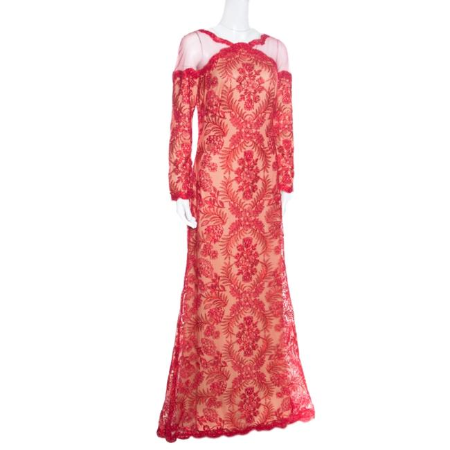 Red Maxi Dress by Tadashi Shoji Cord Embroidered Detail Image 2