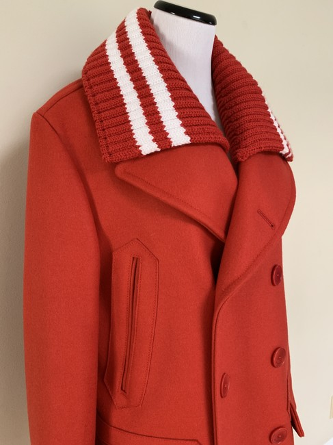 Givenchy Wool Double Breasted Striped Pea Coat Image 3