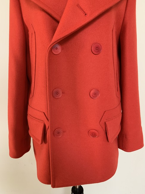 Givenchy Wool Double Breasted Striped Pea Coat Image 6
