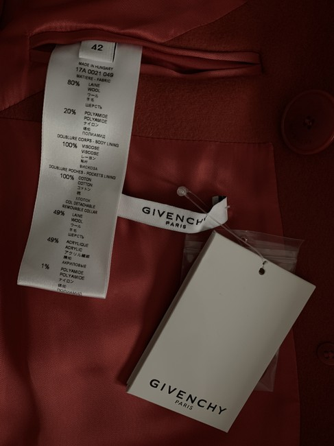 Givenchy Wool Double Breasted Striped Pea Coat Image 9