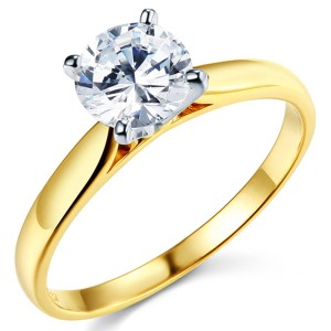 Top Gold & Diamond Jewelry Cathedral Solitaire 1-CT Round-Cut CZ Engagement Ring in 14K Yellow