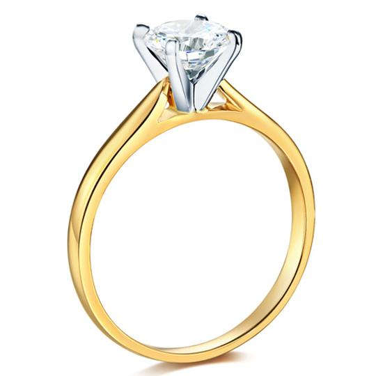 Top Gold & Diamond Jewelry Cathedral Solitaire 1-CT Round-Cut CZ Engagement Ring in 14K Yellow Image 3