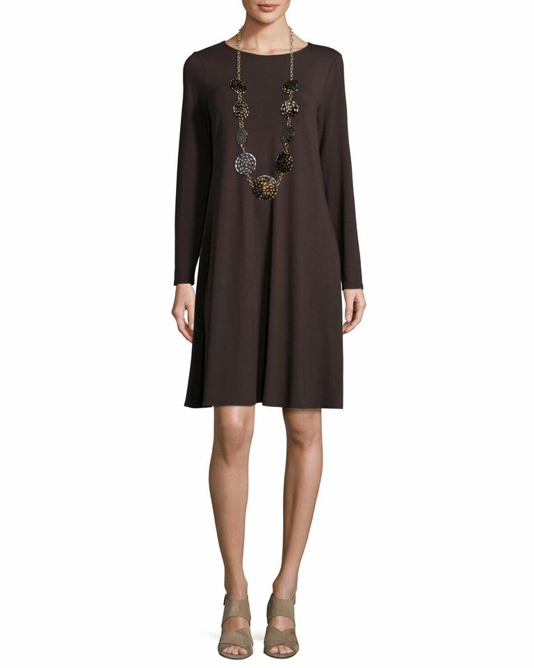 a8bf014d5 Eileen Fisher Brown Jersey Long Sleeve Shift Swing Trapeze Formal Dress