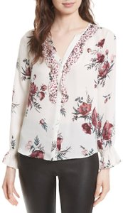Joie Floral Ruffle Silk Top White