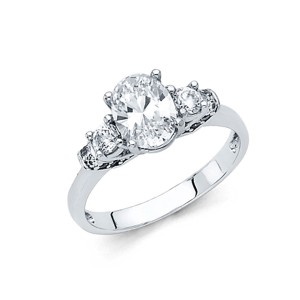 Top Gold & Diamond Jewelry 1.25 CT 3-Stone Trellis Oval-Cut CZ Engagement Ring in 14K White Gold