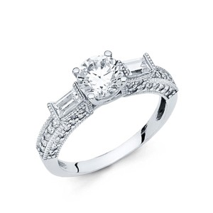 Top Gold & Diamond Jewelry 1.25 Round-Cut 4-Prong & Baguette CZ Engagement Ring in 14K White Gold