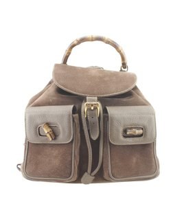 Gucci Gucci Vintage Bamboo Brown Nubuck Backpack (168906)