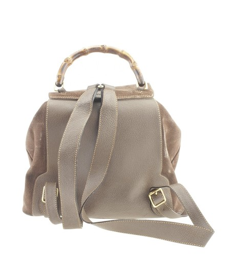 Gucci Gucci Vintage Bamboo Brown Nubuck Backpack (168906) Image 4