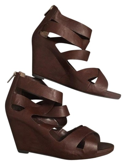 baba83bd1ac Mossimo Supply Co. Brown Strappy Covered Wedge Platform Sandals Size ...
