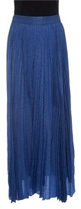 Alice + Olivia Metallic Pleated Maxi Skirt Blue