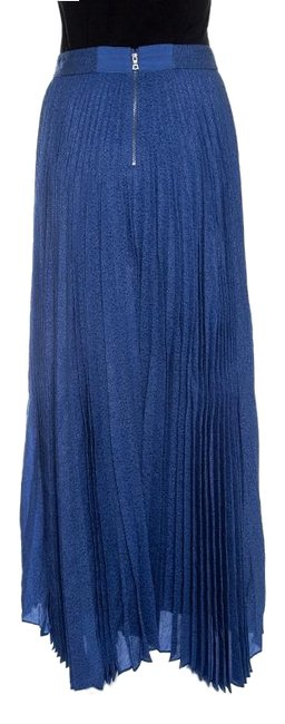 Alice + Olivia Metallic Pleated Maxi Skirt Blue Image 1