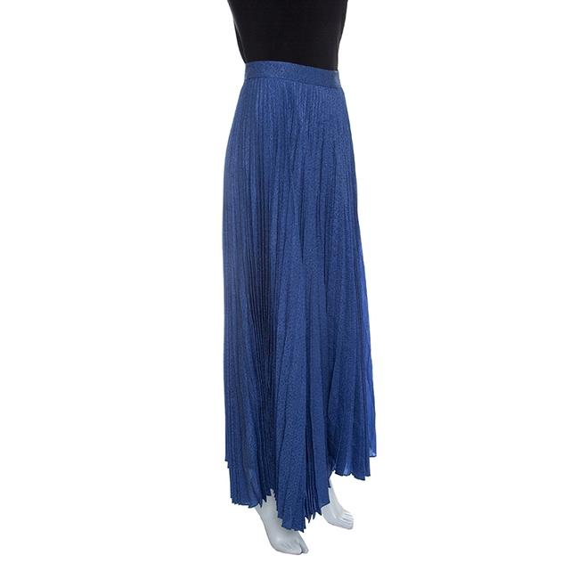 Alice + Olivia Metallic Pleated Maxi Skirt Blue Image 2