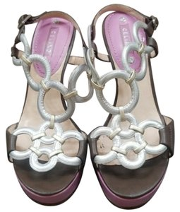 Céline Wedge Silver, Pink Platforms