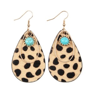 Riah Fashion Animal Print Teardrop Shape Earrings