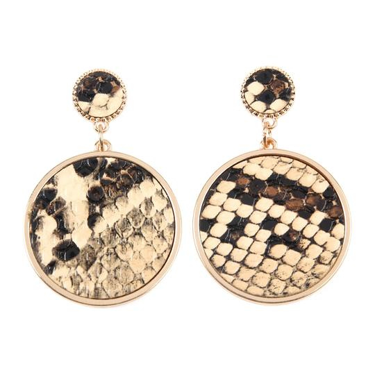 Riah Fashion Animal Print Disc Leather Inset Earrings Image 0