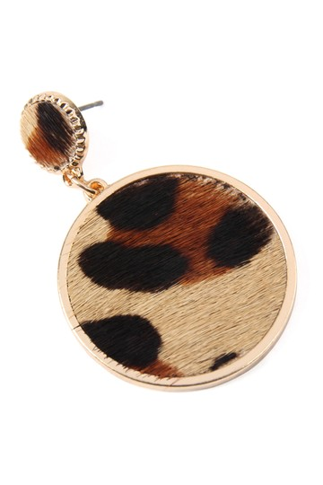 Riah Fashion Animal Print Disc Leather Inset Earrings Image 2