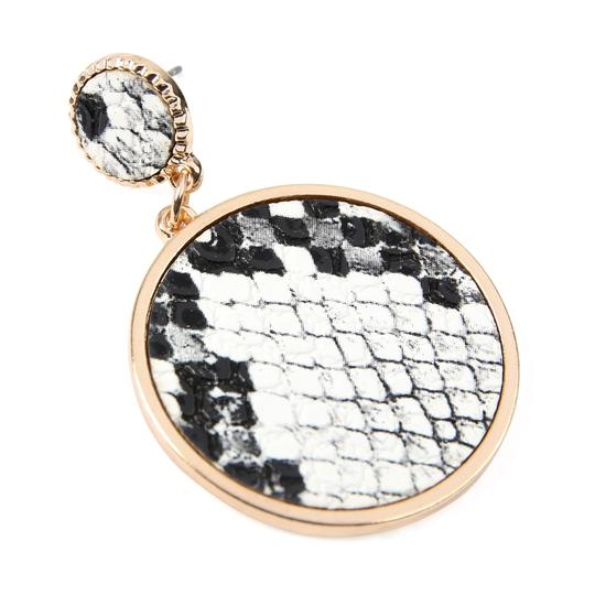 Riah Fashion Animal Print Disc Leather Inset Earrings Image 1