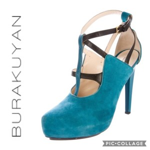 Burak Uyan Eclectic Leather Suede Teal Pumps