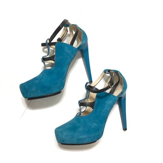 Burak Uyan Eclectic Leather Suede Teal Pumps Image 2