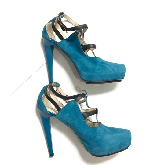 Burak Uyan Eclectic Leather Suede Teal Pumps Image 3