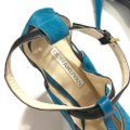 Burak Uyan Eclectic Leather Suede Teal Pumps Image 6