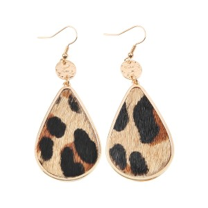 Riah Fashion Animal Print Teardrop Inset Leather Earrings