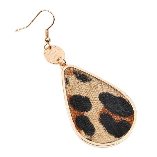 Riah Fashion Animal Print Teardrop Inset Leather Earrings Image 1