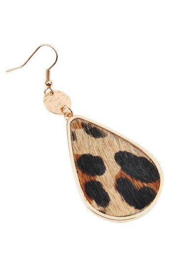 Riah Fashion Animal Print Teardrop Inset Leather Earrings Image 2