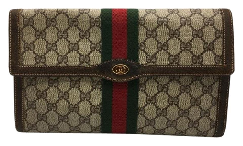 c221fa391bbe Gucci Gg Supreme Monogram Brown Coated Canvas with Web Stripes Large ...