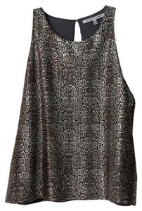 Collective Concepts Sleeveless Shimmer Girl's Snakeskin Metallic Top Black, gold, silver