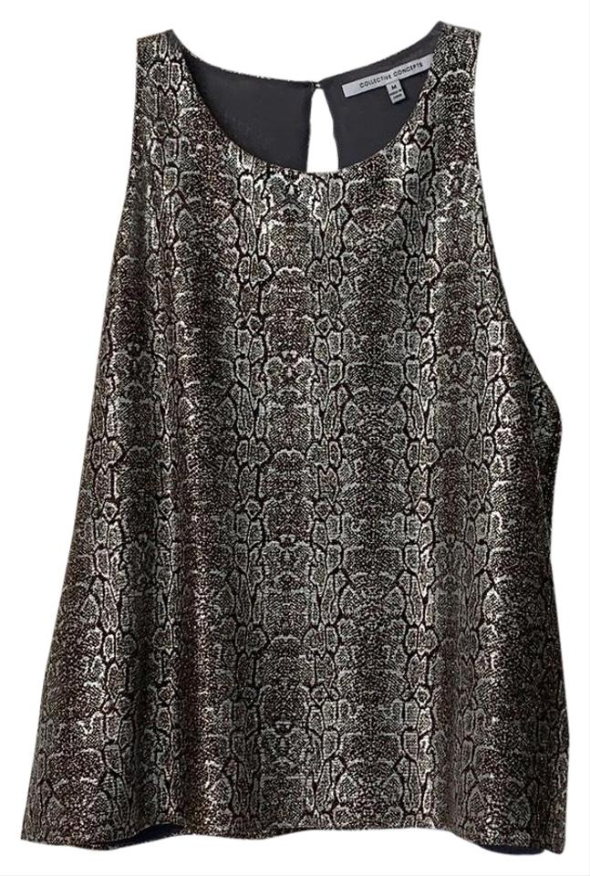 5ac8d8fa Collective Concepts Sleeveless Shimmer Girl's Snakeskin Metallic Top Black,  gold, silver Image 0 ...