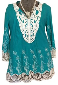 Daniel Cremieux Top turquoise and white
