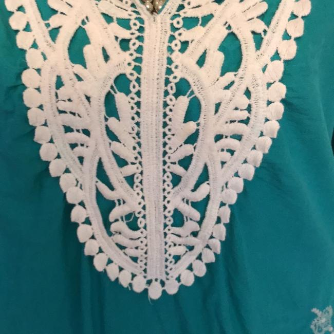 Daniel Cremieux Top turquoise and white Image 1