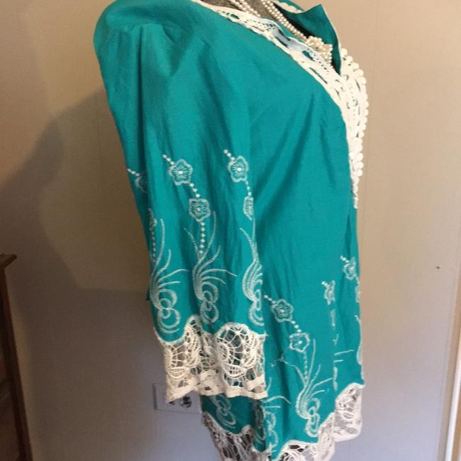 Daniel Cremieux Top turquoise and white Image 2