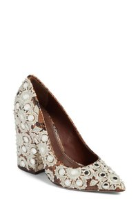 Tory Burch COFFEE PYTHON PRINT/ EMBROIDERY Pumps