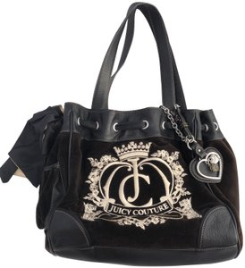 Juicy Couture Velvet Hobo Monogram Satchel in Black / Cream