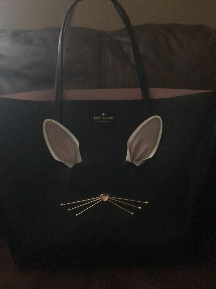 6729ce865 Kate Spade Rabbit Design Black Leather Smooth Tote - Tradesy