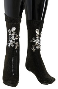 Dolce&Gabbana D57-1 Women's Black Stretch Floral Clear Crystal Socks (Medium)