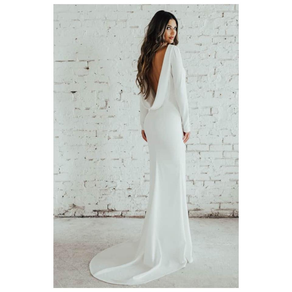 Cowl Neck Bridal Gown: Wasson Cowl Neck Crepe Gown Formal Wedding Dress Size 10