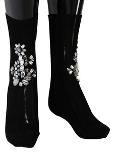 Dolce&Gabbana D50-1 Women's Black Knitted Floral Clear Crystal Socks (Medium)