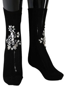 Dolce&Gabbana D50-2 Women's Black Knitted Floral Clear Crystal Socks (Small)