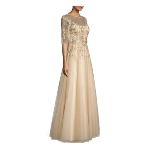 Item - Gold Women's Metallic Embroidered Illusion Gown Long Formal Dress Size 16 (XL, Plus 0x)