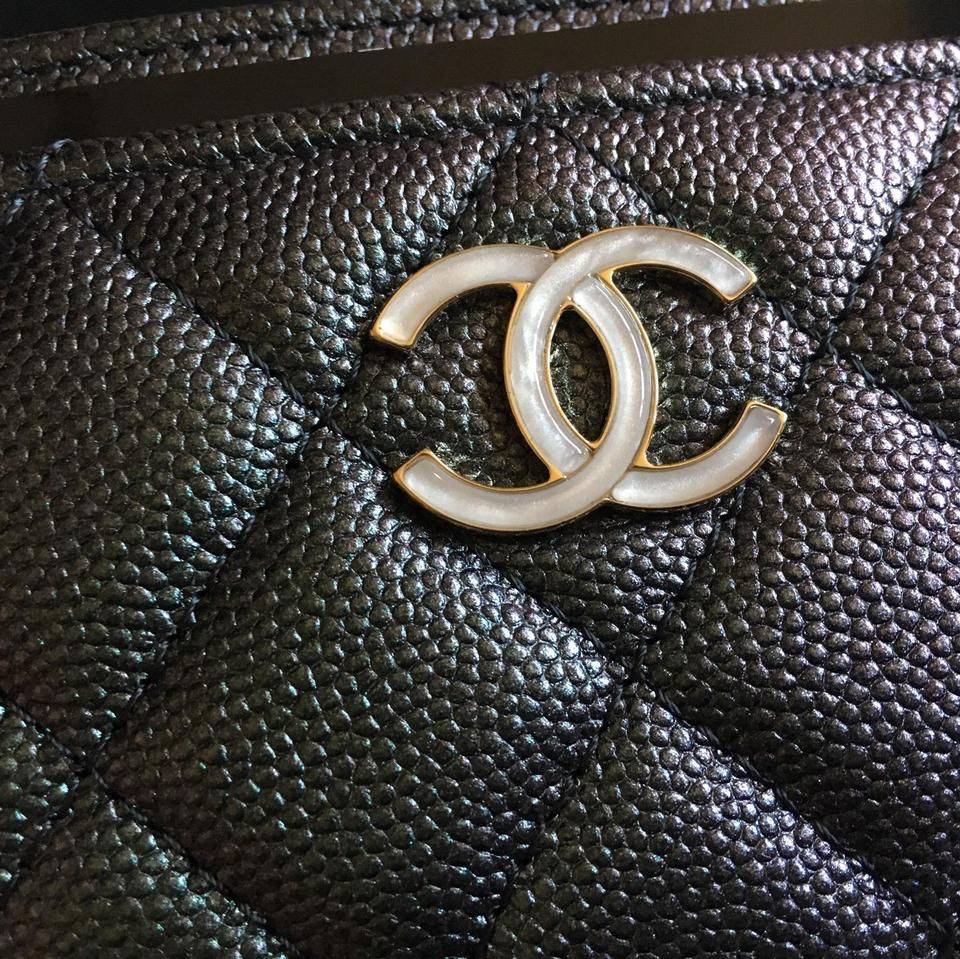 48e4619b Chanel Black Rare Sold Out Unicorn 19s Iridescent Card Holder/ Case Wallet