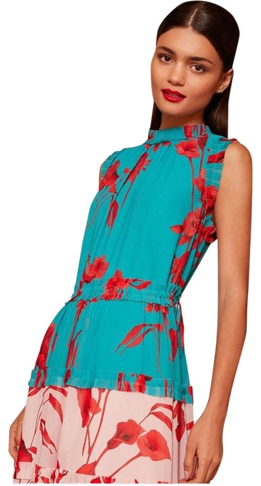 8fe8a6fdca Ted Baker Turquoise Camelis Fantasia Multitiered Mid-length Cocktail ...