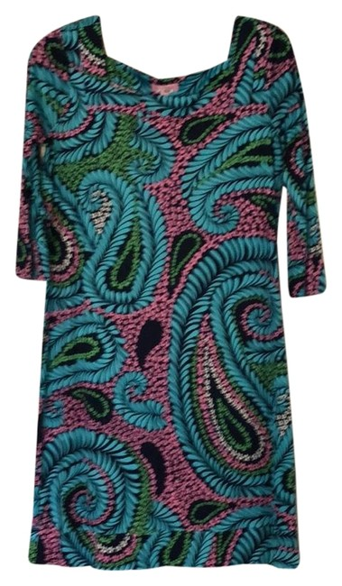 Item - Pink Blue Green Paisley Printed Shift Short Work/Office Dress Size 4 (S)