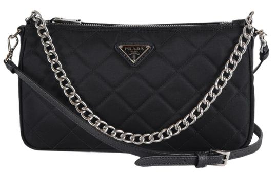 dad46b02d7cf Prada New Tessuto Quilted Chain Small Black Nylon Cross Body Bag ...