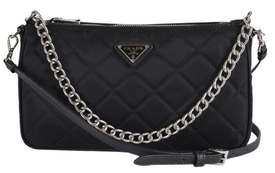 7fd456548618 Prada New Tessuto Quilted Chain Small Black Nylon Cross Body Bag ...