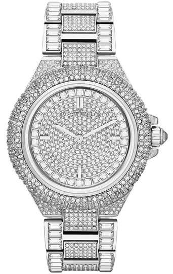 8531545ee342 Michael Kors Silver Camille Stainless Pave Crystal Glitz Mk5869 Watch