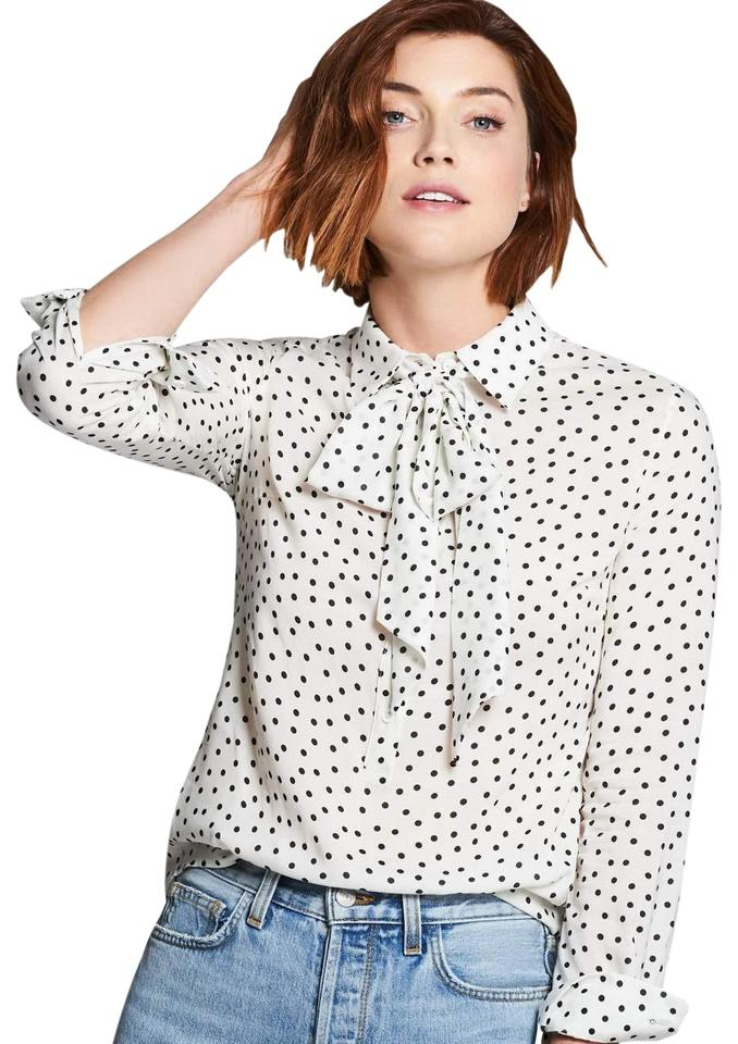 4b50490d71366 Emerson Fry Ivory Dots Ribbons Blouse Size 4 (S) - Tradesy